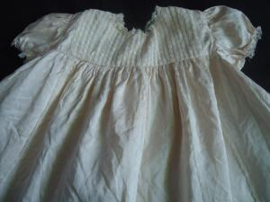 Christening gown made from wedding dress material
